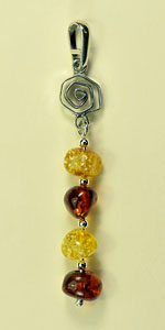 Pendentif perle spirale - bijou ambre et argent