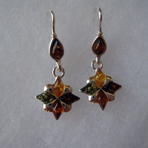 Etoile pendantes - bijou ambre et argent