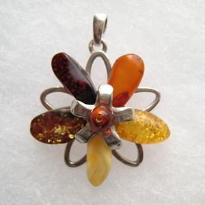 Pendentif   unique fleur mode - bijou ambre et argent