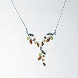 Collier Flora - bijou ambre et argent