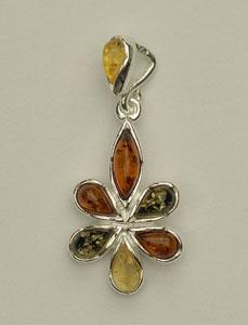Pendentif fleur - bijou ambre et argent