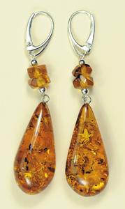 Boucles d'oreilles gouttes - bijou ambre et argent