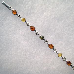 Bracelet  goutte-rond - bijou ambre et argent