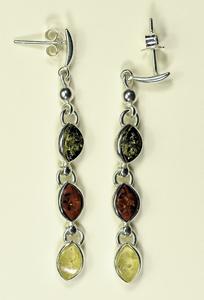 Boucles d'oreilles trio ovale - bijou ambre et argent