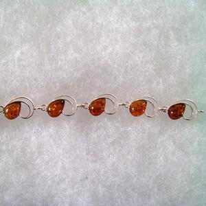 Bracelet gouttes demi lune - bijou ambre et argent