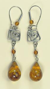 Boucles d'oreilles gouttes spirale - bijou ambre et argent