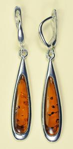 Boucles d'oreilles gouttes longue - bijou ambre et argent