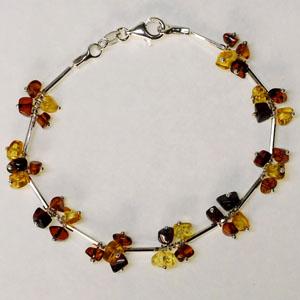 Bracelet grappe - bijou ambre et argent