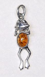 Grenouille articulée - bijou ambre et argent