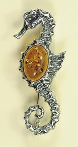 Broche hippocampe - bijou ambre et argent