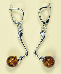 Boucles d'oreilles mini zig zag - bijou ambre et argent