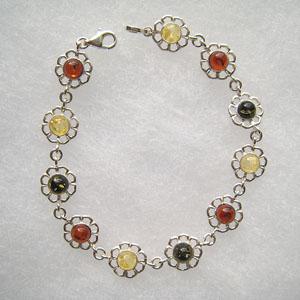 Bracelet margueritte - bijou ambre et argent