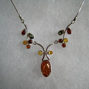 Collier Melissa - bijou ambre et argent
