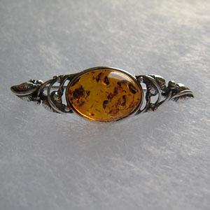 Broche mini cabochon - bijou ambre et argent