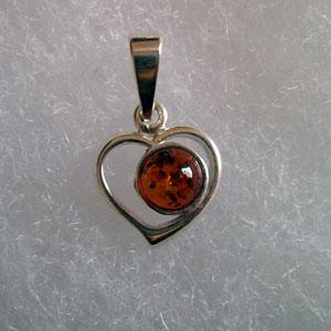 Pendentif coeur miniature - bijou ambre et argent