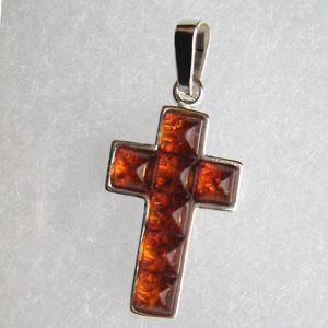 Pendentif croix duo - bijou ambre et argent