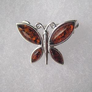 Broche mini papillon - bijou ambre et argent