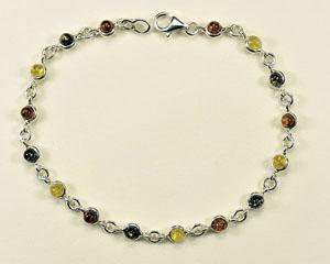 Bracelet  rond multicolore - bijou ambre et argent