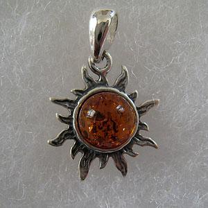 Pendentif  mini soleil - bijou ambre et argent