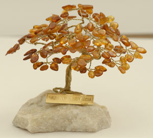 Arbre du bonheur 10 cm - bijou ambre et argent