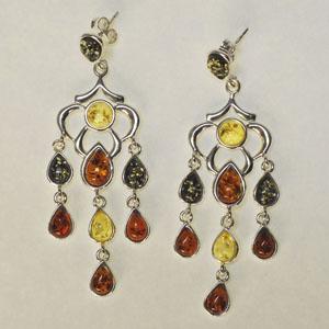 Orientales multicolores - bijou ambre et argent