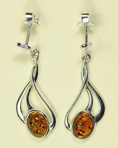 Boucles d'oreilles petit ovale - bijou ambre et argent