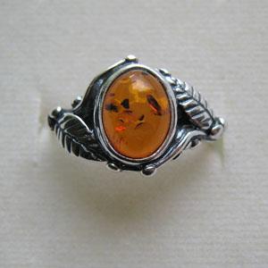 B24   Bague style ancien feuilles ovale - bijou ambre et argent
