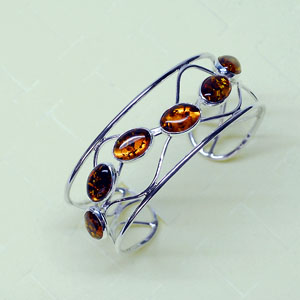 Bracelet ouvert - bijou ambre et argent