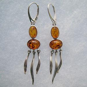Ovales pendantes - bijou ambre et argent
