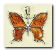 Pendentif papillon MM - bijou ambre et argent