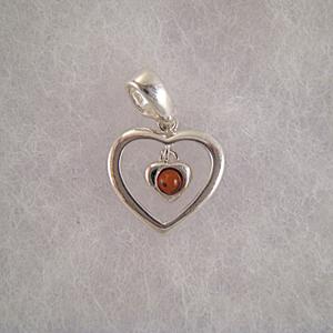Pendentif coeur pendant - bijou ambre et argent