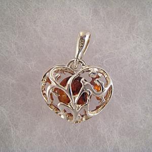 Pendentif coeur de lière - bijou ambre et argent