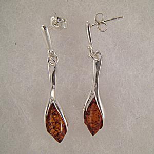Boucles d'oreilles style moderne - bijou ambre et argent