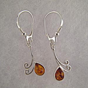 Boucles d'oreilles goutte d'eau - bijou ambre et argent