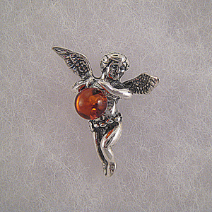 Pendentif petit ange - bijou ambre et argent