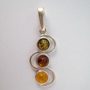 Pendentif - bijou ambre et argent