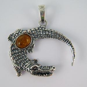 Pendentif crocodile - bijou ambre et argent