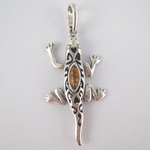 Pendentif salamandre pendentifs bijou ambre et argent - Nettoyer chaine en argent ...