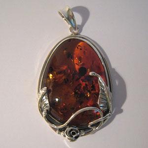 Pendentif  unique style ancien - bijou ambre et argent