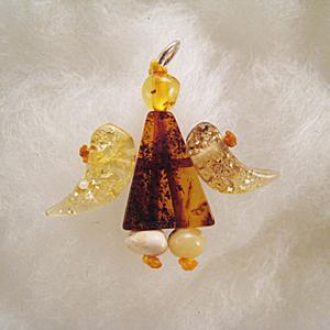 Pendentif tout ambre ange - bijou ambre et argent