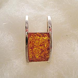 Pendentif rectangle - bijou ambre et argent