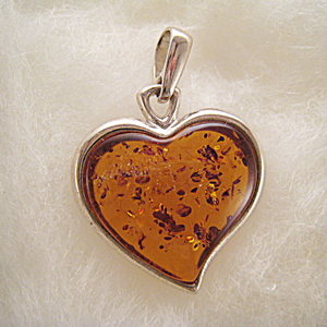 Pendentif coeur maxi - bijou ambre et argent