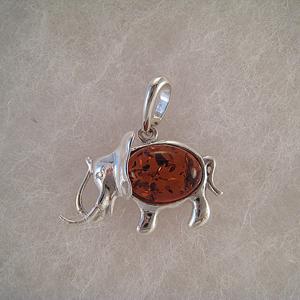 Pendentif éléphant moyen  - bijou ambre et argent
