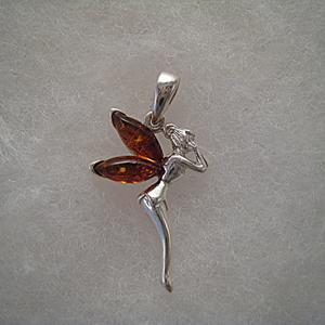 Pendentif fée clochette - bijou ambre et argent