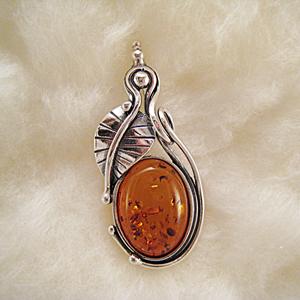 Pendentif feuille de li re pendentifs bijou ambre et - Nettoyer chaine en argent ...