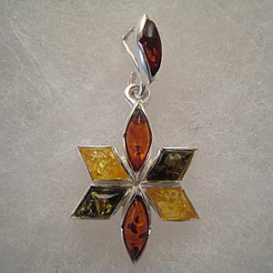 Pendentif étoile - bijou ambre et argent