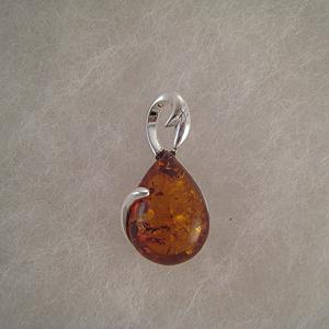 Pendentif grosse goutte  - bijou ambre et argent