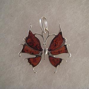 Pendentif papillon féerique  - bijou ambre et argent