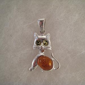 Pendentif chat gros ventre  - bijou ambre et argent
