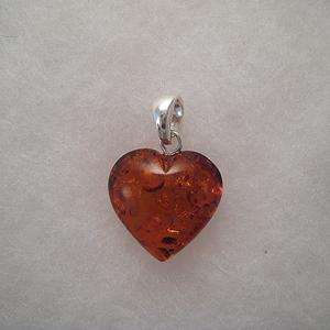 Pendentif  mini coeur ambre - bijou ambre et argent